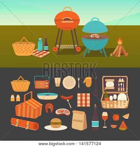 Vector set of summer picnic. Barbecue outdoors. Illustration of a picnic in the park. Family weekend in nature. Collection of icons: barbecue grills, basket, thermos, fruits, sandwich, wine.