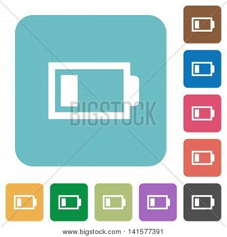 Flat low battery icons on rounded square color backgrounds.