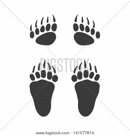 Vector cartoon bear footprint. Bear steps. Isolated black icon for logo web site design app UI. Animal steps for posters greeting cards book cover flyers banner web game designs.