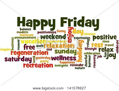 Happy Friday, Word Cloud Concept