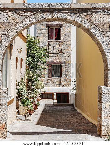 A street scene from the Greek town of Agios Nikolaos on the island of Crete.