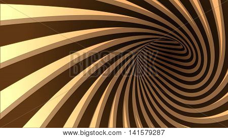 3d vector striped spiral abstract tunnel background. Background for products with chocolate or coffe cream taste. Twisted rays. Striped tunnel. Spiral hole. Vector illustration.