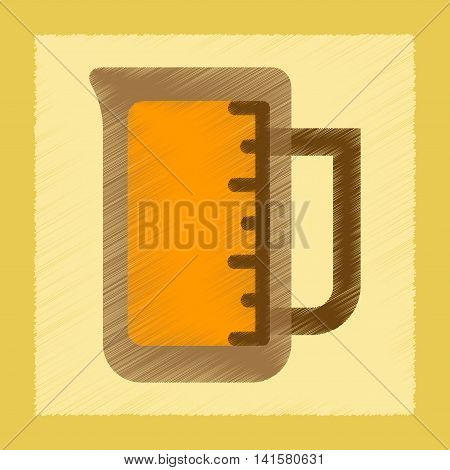 flat shading style icon coffee measuring cup, vector
