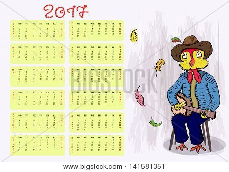 Calendar grid. Happy rooster. Happy New Year 2017