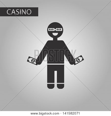 black and white style poker man player, vector