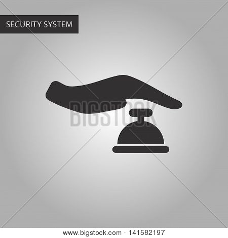 black and white style poker hand bell, vector
