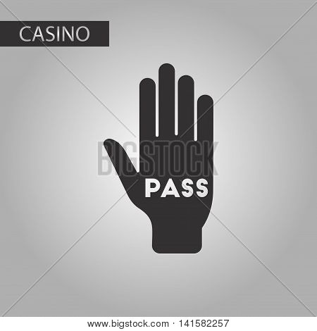 black and white style poker hand pass, vector