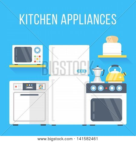 Kitchen appliances set. White refrigerator, stove, dishwasher, microwave, toaster, kettle, and classic coffee maker. Flat design vector illustration