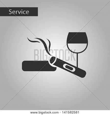 black and white style poker cigar glass of wine