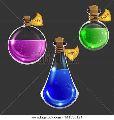 Collection of three magical bottles. Icons of magic elixir. Vector design for app user interface isolated on dark