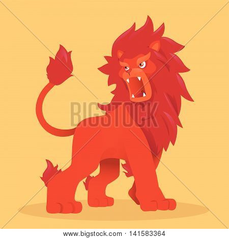 Vector Illustration of a red lion roaring