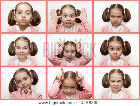 Different emotions on the girl's face with bow in a pink sweater