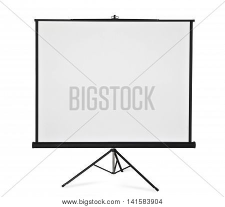 Empty projection screen on tripod on white background