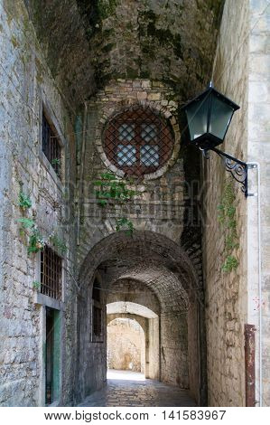 streets of Kotor, Montenegro. View on old town of Kotor UNESCO twon in Montenegro.