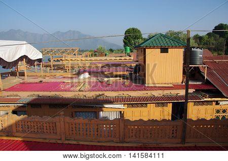 Traditional houseboats in Srinagar in Kashmir, India