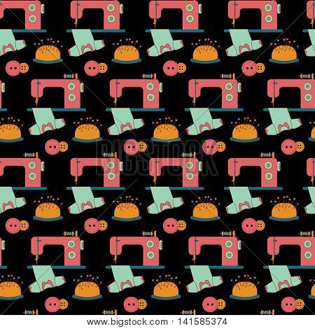 Seamless pattern of sewing tools icons on black background. The sewing machine that sews clothes and tailor accessories. Background for use in design web site packing textile fabric. Vector illustration.