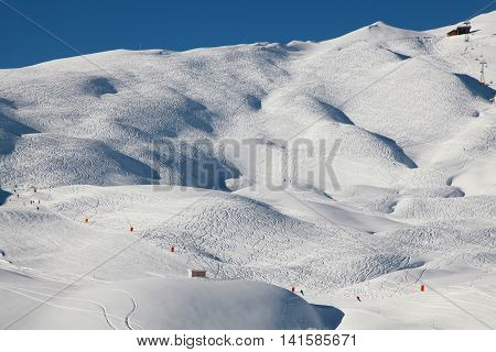 A criss cross of ski tracks gives these slopes a strange appearance