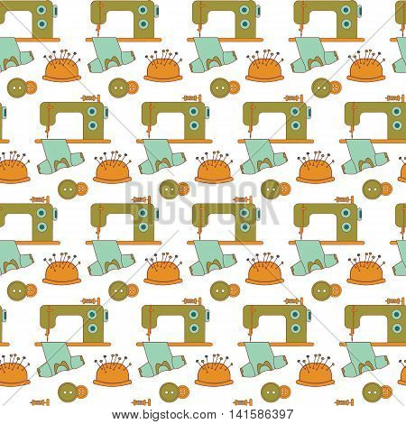 Seamless pattern of sewing tools icons. The sewing machine and tailor accessories.Green blue and orange on white. Background for use in design web site packing textile. Vector illustration.