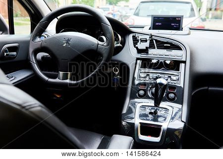 Riga Latvia- July 17 2016: Inside of a Peugeot 5008. The Peugeot 5008 is a French car and has been on sale since November 2009