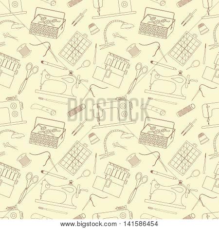 Seamless pattern of sewing tools icons. Sewing machines overlock machine sewing implements and accessories. Background for use in design web site packing textile fabric. Vector illustration.