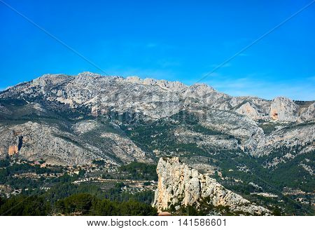 Rock of Alcala in Guadalest. Costa Blanca Province of Alicante. Spain