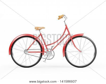 Red vintage womens red bicycle side view isolated on white background. 3d illustration