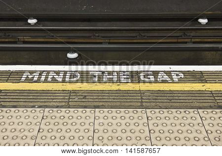 LONDON, UNITED KINGDOM - SEPTEMBER 12 2015: Mins the Gap tipycal sign in London underground