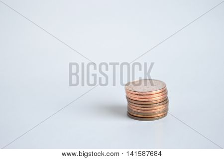Single stack of U.S. pennies lower right