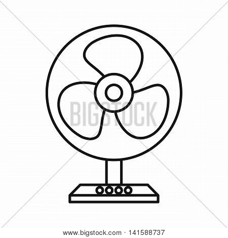 Electric table fan icon in outline style isolated on white background