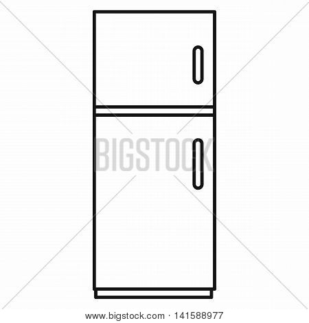 Refrigerator icon in outline style isolated on white background
