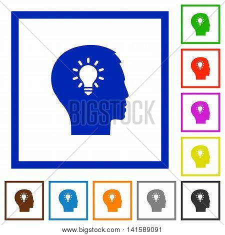 Set of color square framed idea flat icons