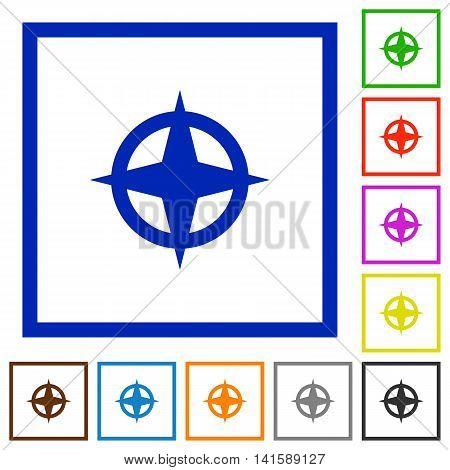Set of color square framed map directions flat icons