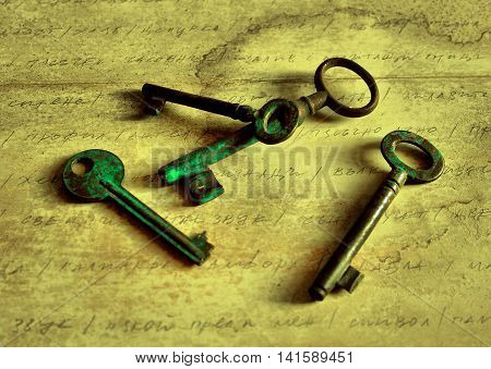 Photos of old keys. The photographs create a sense of times gone by.