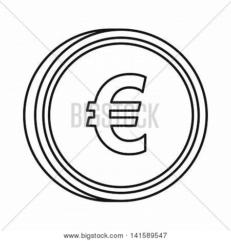 Euro sign icon in outline style isolated on white background