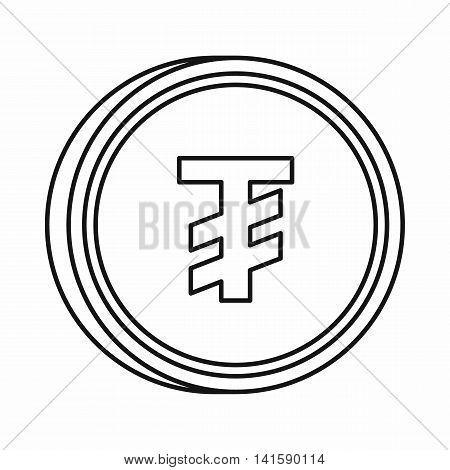 Mongolian Tugrik sign icon in outline style isolated on white background