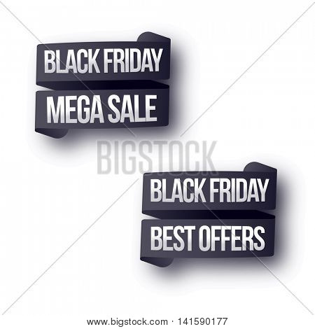 Black Friday Mega Sale with Best Offers, Creative Ribbons set on white background, Vector illustration.