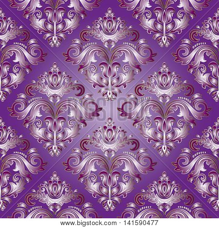 light violet Dark violet floral damask baroque vector vintage seamless pattern background with elegant stylish volumetric ornaments. Luxury element for design in Victorian style.3d decor with shadow and highlights