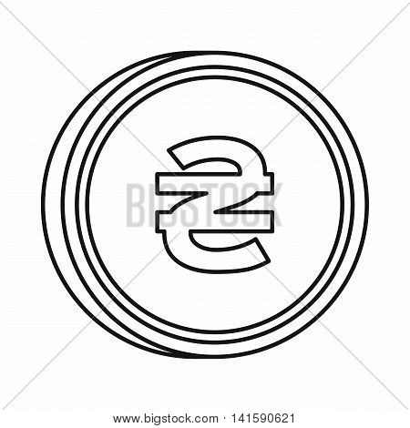 Ukrainian hryvnia sign icon in outline style isolated on white background