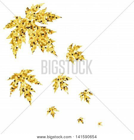 Autumn fall with golden maple leaves. Vector illustration.
