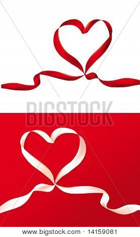 Red And White Gift Celebration Ribbons In Heart