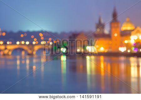 Travel Background of defocused european city, Prague, Europe