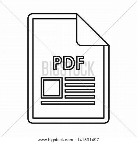PDF file document icon in outline style isolated on white background
