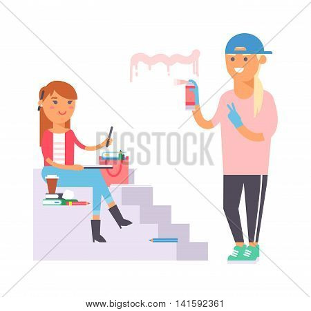 Young street artist creative people in studio during pain work. Portrait drawing artist creative people vector. Colorful adult painter artist designer creative people with paintbrush.