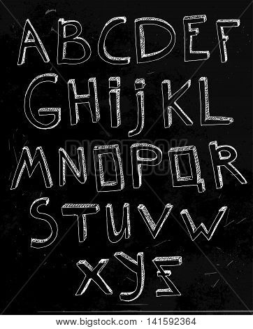 Hand drawn vector typeset. Volumetric handmade letters. English alphabet in white color on a dark grey background.