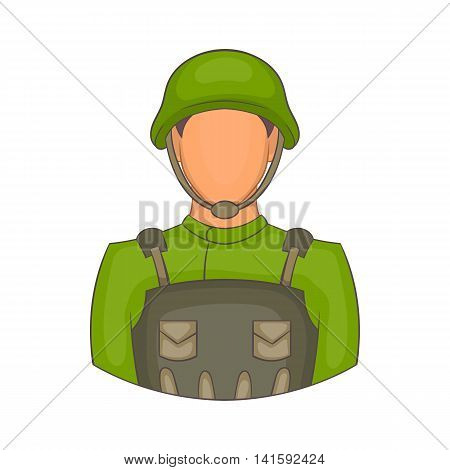 Soldier icon in cartoon style on a white background