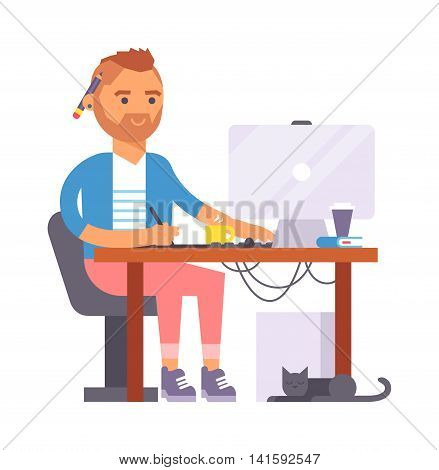 Young designer creative boy artist during pain work in studio. Portrait drawing designer artist creative people vector. Colorful adult painter artist boy designer creative people with paintbrush.