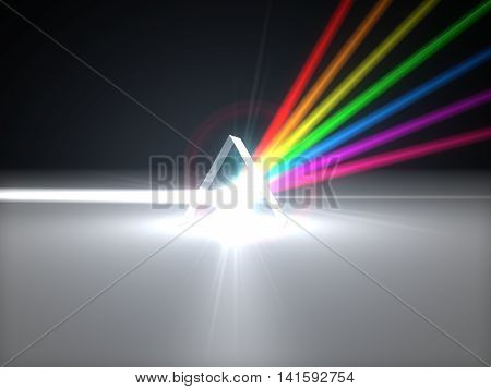 3D Illustration Prism And Refraction Light Ray.