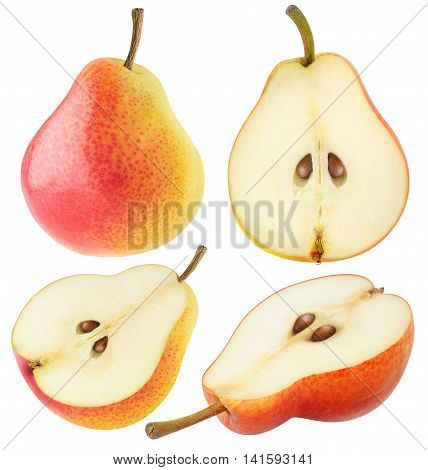 Isolated Yellow Pink Pears