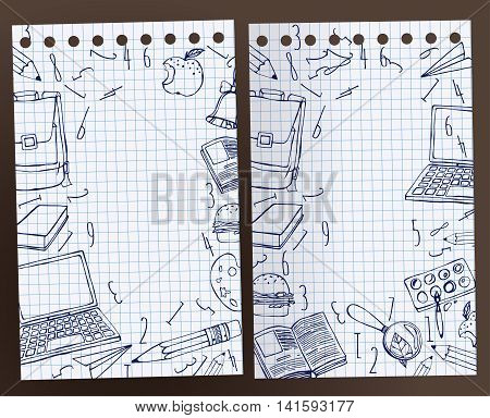 School exercise book with handdrawn school related images. Vector illustration. Blue drawing on a white squared notebook sheet background. Back to school concept