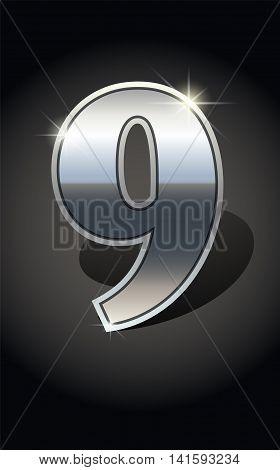 Silver number nine on dark background isolated. Silver alphabet. Vector illustration number nine. Number nine icon. Vector illustration stock vector.
